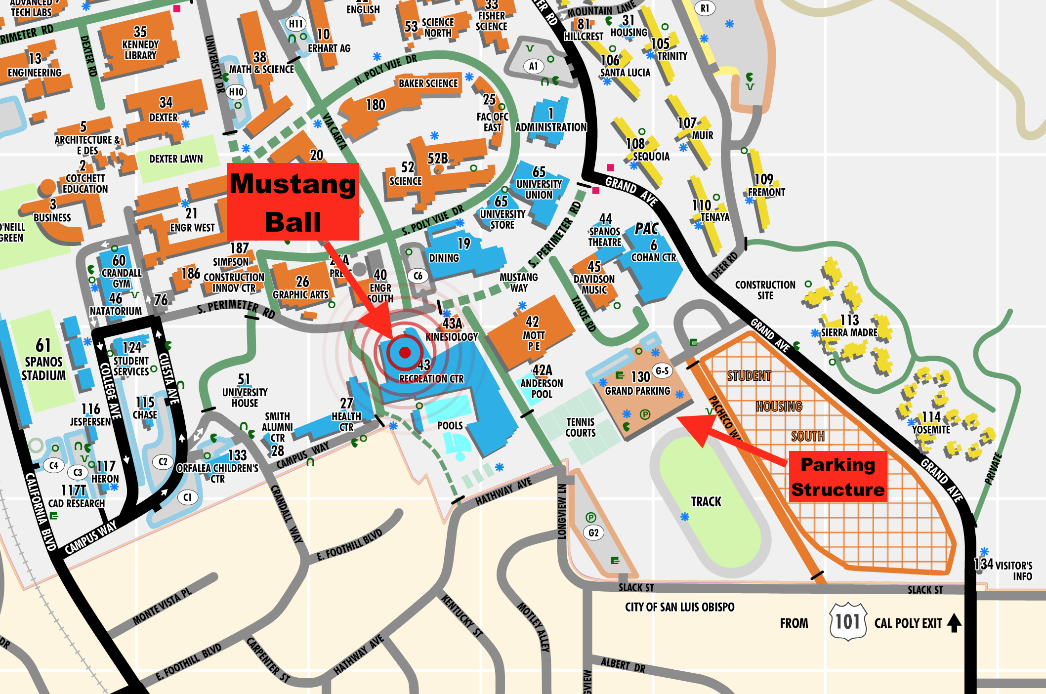 Event Location Cal Poly Mustang Ball February - Us 101 south map